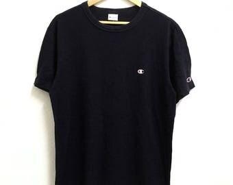 RARE!!! Champion Small Logo Embroidery Crew Neck Dark Blue Colour T-Shirts XL Size