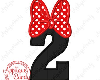Miss Mouse Bow Applique Number Set 0-9 Machine Embroidery Design Digital Files 4x4 5x5 5x7 8x8 6x10 Birthday Numbers Minnie INSTANT DOWNLOAD