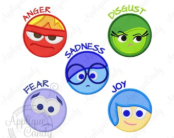 Emotions Circle Applique Machine Embroidery Design 4x4 5x7 6x10 Anger Sadness Joy Fear Disgust Out Inside INSTANT DOWNLOAD