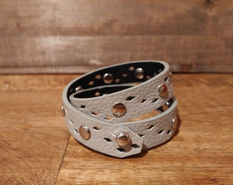 Light grey, double-wrap bracelet, with diamond shaped cut-outs & chrome rivets // upcycled belt