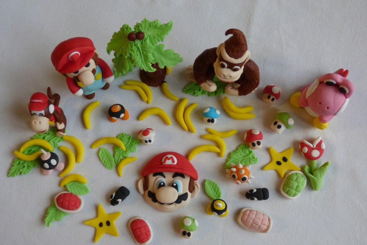 Fondant Mario Fondant Donkey Kong Yoshi And Diddy Kong