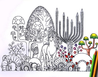 adult fantasy coloring page instant download PDF and JPG in US and A4 format 600dpi