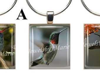 HUMMINGBIRDS ~ Scrabble Tile Wine Glass Charms ~ Set of 3 Stemware Charms/Markers/Pendants ~ Toast Your Celebration with Style!