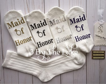 Maid of Honor, Bridal Party,  Wedding Women's gift socks.