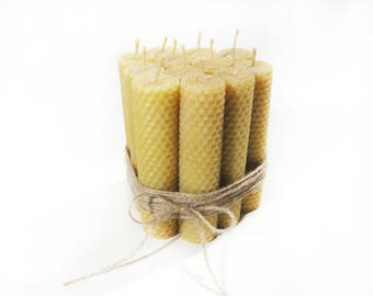 Set of 12 Beeswax candles. Pure Beeswax Hand-Rolled Candles. Beeswax Candles. Honeycomb Candles. Natural Candles. Beeswax pillar candles.