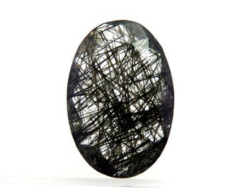 Awesome Black Rutile Oval Shape Briolite Cut Semi Precious Gemstone For Jewellery Making 18X12X5mm 8Cts B-1006