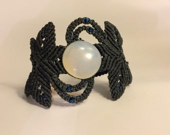 Dark Grey Macrame Bracelet with Moonstone and Blue Cristal Beads