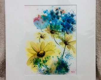 """Little Splash of Yellow and Blue 12"""" x 10"""" original watercolour painting"""