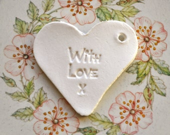 With Love gift tags, set of 5 - heart-shaped tags, with love clay tags, with love heart tag, mothersday gift tag, white heart gift tag