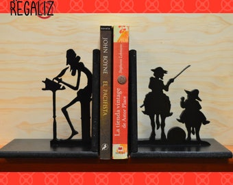 wood bookend, Cervantes, el Quijote wood gift  bookends, shelve decor gift for her