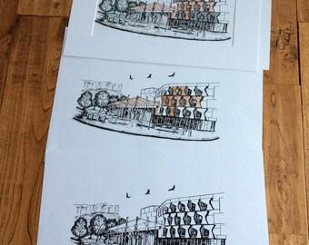 Hawks over Scottish Parliament-A3-Scottish art-Scotland-travel-art print-home decor-office art-Scotland print-travel print-limited edition
