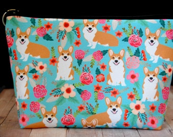 PRE-ORDER Pet Corgi Dog Zipper Pouch // Puppies, Cosmetics, Make-up, Pencil Bag