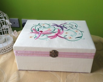 Machine embroidered Wooden Keepsake trinket jewellery memory box dragonflies gift