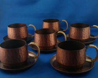 Set of 6 Small Vintage hammered Handled Cups & Saucers - 100% Solid Copper