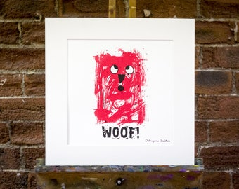 Woof Nursery Wall Art. Limited edition, original design, handmade.Perfect gift for a baby shower, new baby. look fab in  a child's bedroom.