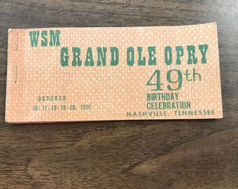 WSM Grand Ole Opry 49th birthday celebration ticket book
