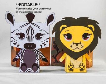 Editable Safari Favor Box Set for Safari Party! ZEBRA & LION