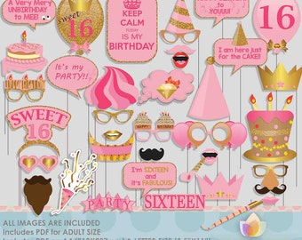 Glitter Gold Pink 16th, sixteenth Birthday Party Photo Booth Props