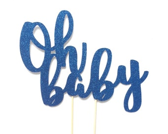 Oh Baby Cake Topper, Baby Shower Cake Topper, Gender Reveal Decor, Baby Boy