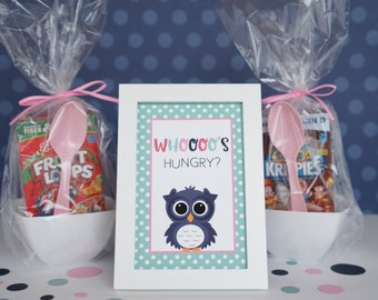 Slumber Party Sign, Owl Sign, Pajama Party Sign, Birthday Party Sign, Night Owl Party, Sleepover Party, Pink Owl, 4x6 Sign - SET OF 4