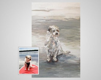 Custom Pet Portrait, Acrylic on Gallery Wrapped Canvas, Impressionistic Style, Submit a Picture, Select your Size and Colors