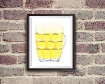 beer jar, beer art, beer print, beer illustration, wall decor, instant download, beer, digital illustration, beer poster