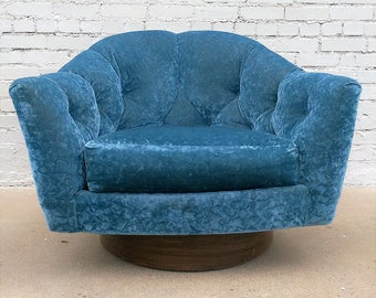 Mid Century Modern Crushed Velvet Milo Baughman Swivel Chair