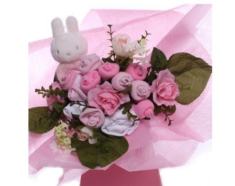 Baby Girl Clothes Bouquet with Miffy Rattle.