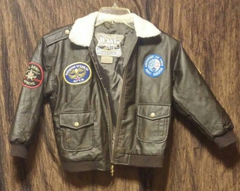 1980's Wing Commander P U Leather bomber jacket, size 7T, free shipping