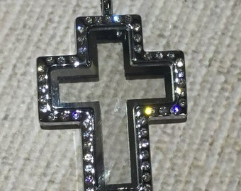 3 pc Cross shaped Floating Charm Locket * PLUS 2 stone / crystals *