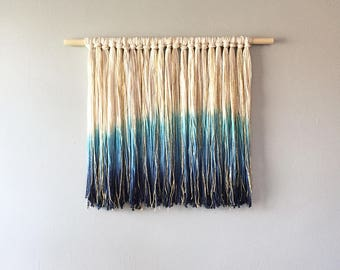 Dip Dye Fringe Wall Hanging | indigo, gold, blue, sparkly wall art, ombre, bohemian