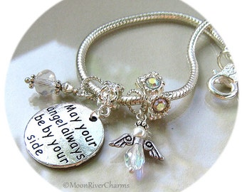 Guardian Angel Charm Bracelet May Your Angel Always Be By Your Side Aurora Borealis Crystal Angel Charm European Bracelet #CBR1037