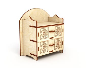 Doll dresser, toy furniture, Dollshouse Miniature chest, Chest of drawers, 1/6 scale, 1/12 scale, Dresser for Barbie, for 12 inch doll