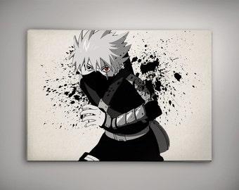 Young Kakashi With Sharingan Naruto Decor Anime Poster Art Watercolor Wall