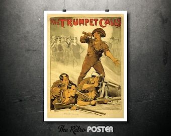 The Trumpet Calls - Norman Lindsay - 1940s, Australian Gifts, World War 2, WW2, Military Gifts, History, Propaganda, Office, Recruitment