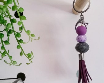 Hayley—Handmade purple and granite polymer clay beads with silver trigger clasp