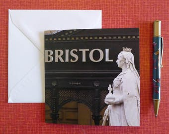 Greetings Card - Bristol Vs Queen Victoria statue, England