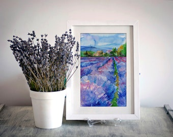Digital Wall Print Lavender Watercolor Painting Nature Illustration Realistic Contemporary Art Landscape Drawing Living Room Digital Print
