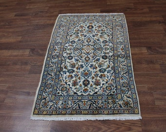 Fanciful Hand Knotted Light Foyer Kashan Persian Rug Oriental Area Carpet 3X5