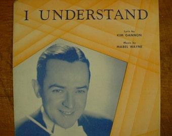Sheet Music I Understand Jimmy Dorsey Music Sheet Antique Vintage