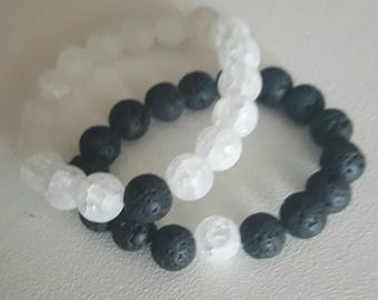 Distances bracelets w/ lava stone diffuser  (set of 2)