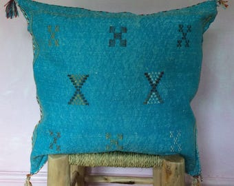 Saber Silk Cushion-aqua blue
