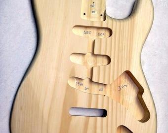 100+ yr Aged Pine Stratocaster style strat body 3lbs - #1945 - Lightweight