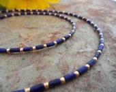 Collar de oro fino lapislázuli