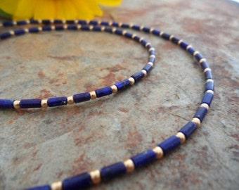 Fine gold lapis lazuli necklace
