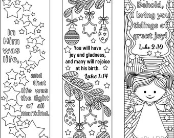 9 Printable Christmas Coloring Bookmarks (6 Designs With Bible Verses And 3  Designs Without Texts  Christmas Bookmark Templates