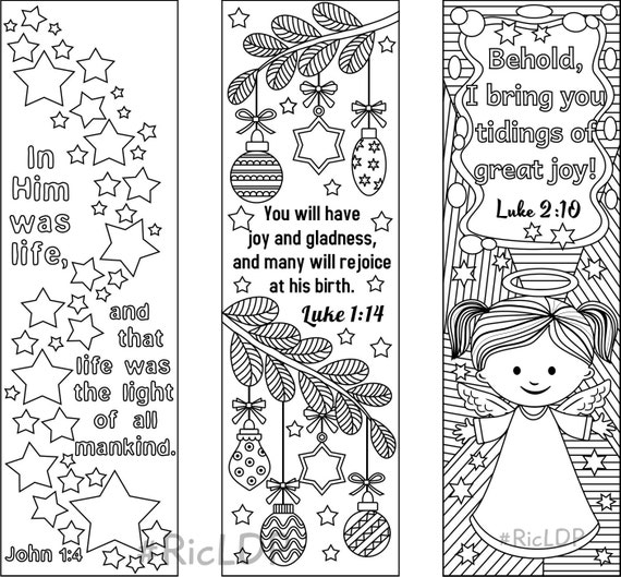 9 Christmas Coloring Bookmarks (6 designs with Bible Verses and 3 designs without texts)