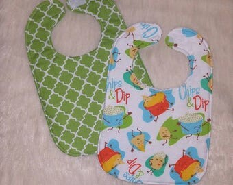 Chips and dip flannel baby bibs, 100% cotton baby bibs, food baby bibs