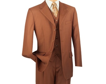 Classic-fit men's suit 3 piece suit 3 bottons solid cognac suits new with tag