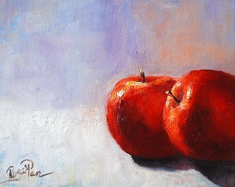 Two Apples, Original Oil Painting by Roger Pan on canvas board, 8x10inch